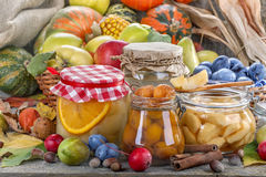 Autumn food preservation. Preservation of healthy fresh fruit and vegetables royalty free stock photography