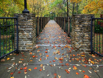 Autumn Foot Bridge Stock Images