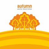Autumn forest. Vector illustration of abstract autumn forest and grass royalty free illustration