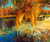 Autumn forest. Original oil painting showing beautiful lake,sunset landscape.Autumn forest and sky. Modern Impressionism Stock Photography
