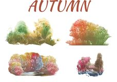 Autumn forest, abstract drawing on white background. Group of objects royalty free illustration