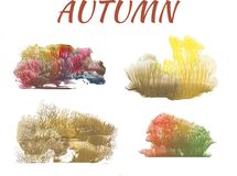 Autumn forest, abstract drawing on white background. Group of objects vector illustration