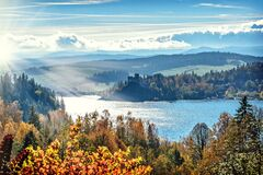 Autumn forest along lake royalty free stock photo