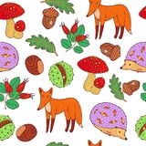 Autumn forest - animals and plants. Doodle hand drawn seamless pattern. Vector artwork.  stock illustration