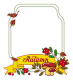 Autumn forest background with mushrooms, cranberries. And artistic written word 'Autumn'. Raster frame with free space for text Stock Images