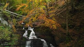Autumn Forest in the Carpathian Mountains. Beautiful Cascading Waterfall. Carpathian Mountains. Mountain River In The Forest At Fall. Stone Cairns. Mountain stock video