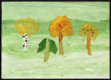 Autumn Forest. Childs Drawing. Royalty Free Stock Photo