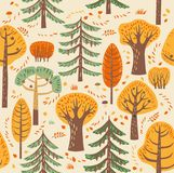 Autumn forest. Different trees grow on a beige background. Between them are fallen leaves, mushrooms. Seamless pattern. Autumn forest. Different trees grow on a Stock Photos