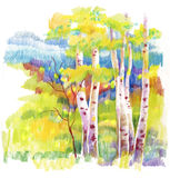 Autumn forest felt-tip pen. Illustration Royalty Free Stock Images