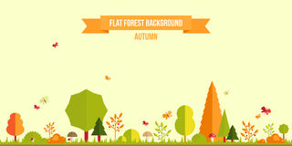 Autumn forest flat background. Simple and cute landscape for your design Stock Image