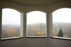 Autumn forest and fog. View from the summerhouse windows. Toila, Estonia Stock Images