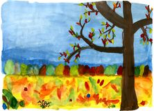 Autumn forest - hand drawn illustration. Autumn forest - hand drawn kid's water-color illustration, for your design, postcard, album, cover, scrapbook etc Stock Image