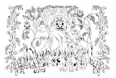 Autumn forest inhabited by different animals. Picture of autumn forest with its inhabitants - coloring book for adults vector illustration