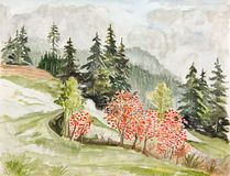 Autumn forest landscape. Original painting watercolor on paper Stock Image