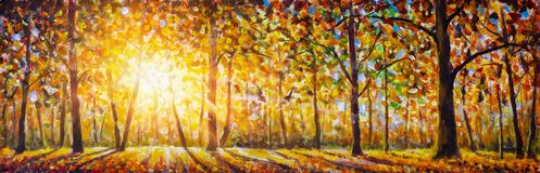 Autumn Forest Landscape Oil Painting With Sun Rays And Colorful Autumn Leaves At Tall Trees Illustration Stock Image