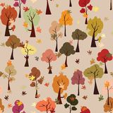 Autumn forest, leaf fall, seamless pattern, flat Stock Images