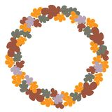 Autumn forest leaves round wreath vector pattern vector illustration
