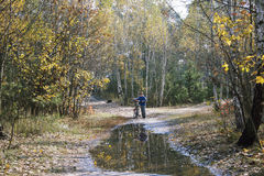 Autumn in the forest a little boy standing with his bicycle near Royalty Free Stock Photos