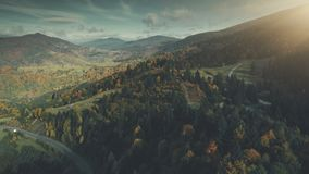 Autumn forest mountain slope scenery aerial view royalty free stock images