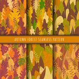 Autumn forest and nature seamless patterns collection. Fall patterns vector. Set of 6 autumn leaf background. Yellow wallpaper. Nature texture background stock illustration