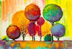 Original oil painting of autumn landscape stock illustration