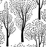 Autumn forest pattern. Fall leaves and trees seamless background Royalty Free Stock Photo