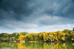 Autumn forest, river and moody sky Stock Images