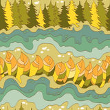 Autumn forest and river seamless pattern. Vector Royalty Free Stock Photos