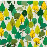 Autumn forest. Seamless. Is in yellow-green tones Stock Photos