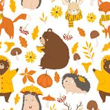Autumn forest seamless pattern with cute animals stock illustration