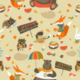 Autumn forest seamless pattern with cute animals Royalty Free Stock Image