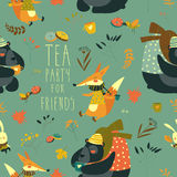 Autumn forest seamless pattern with cute animals Royalty Free Stock Photography
