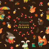 Autumn forest seamless pattern with cute animals Royalty Free Stock Photos