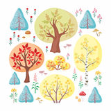 Autumn forest set. The autumn woods. Trees, plants and mushrooms in cartoon style  on white background. Vector set Stock Photos