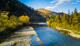 Autumn forest and sky and mountains and river. Autumn forest and blue sky and mountains and river Royalty Free Stock Photo