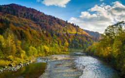 Autumn forest and sky and mountains and river. Autumn forest and blue sky and mountains and river Stock Image