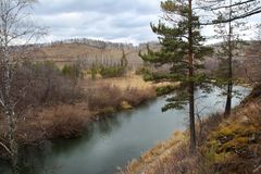 Autumn forest and the Small Kizil river in Abzakovo resort, Russia stock image