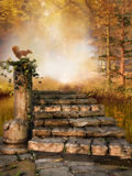 Autumn forest with stone stairs royalty free illustration