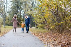 Autumn forest walk with the son family. 1 Stock Photography