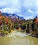 Autumn forests. Grow along the banks of the cold river. Heavy storm clouds over the Rocky Mountains of Canada. The concept of active tourism Stock Images