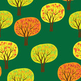 Autumn forrest seamless pattern with vector trees. Autumn forrest landscape, seamless pattern with vector trees Royalty Free Stock Images