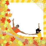 Autumn frame. Golden autumn frame,  illustration Royalty Free Stock Photo