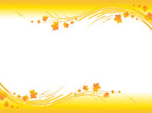 Autumn frame. Illustration of horizontal yellow autumn frame, maple leaves  and cereals stems with copy-space for your text Stock Image