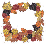 Autumn frame. Made from  leaves Royalty Free Stock Photography