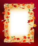 Autumn frame. A simple white frame autumn leaves Stock Photography