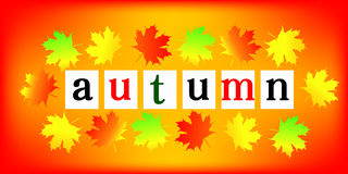 Autumn Frame. Beautiful fall foliage frame illustration of colorful Stock Photo