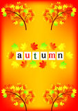 Autumn Frame. Beautiful fall foliage frame illustration of colorful Stock Photos