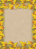 Autumn frame. Beautiful painted border of fall leaves made of glass vector illustration