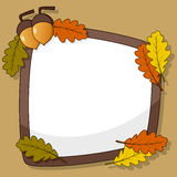 Autumn Frame with Acorn Fruit & Leaves Royalty Free Stock Photo