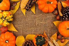 Autumn frame against a burlap background Royalty Free Stock Image